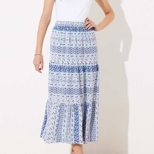 Loft tiered midi skirt size xl